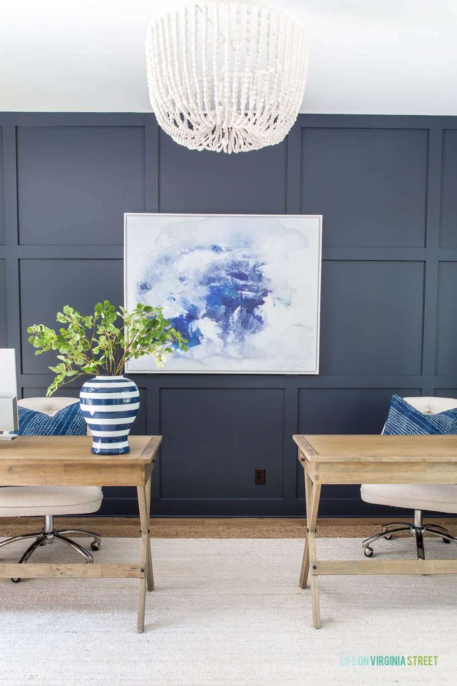 Love this blue paint color that Sarah from Life on Virginia Street painted her home office!