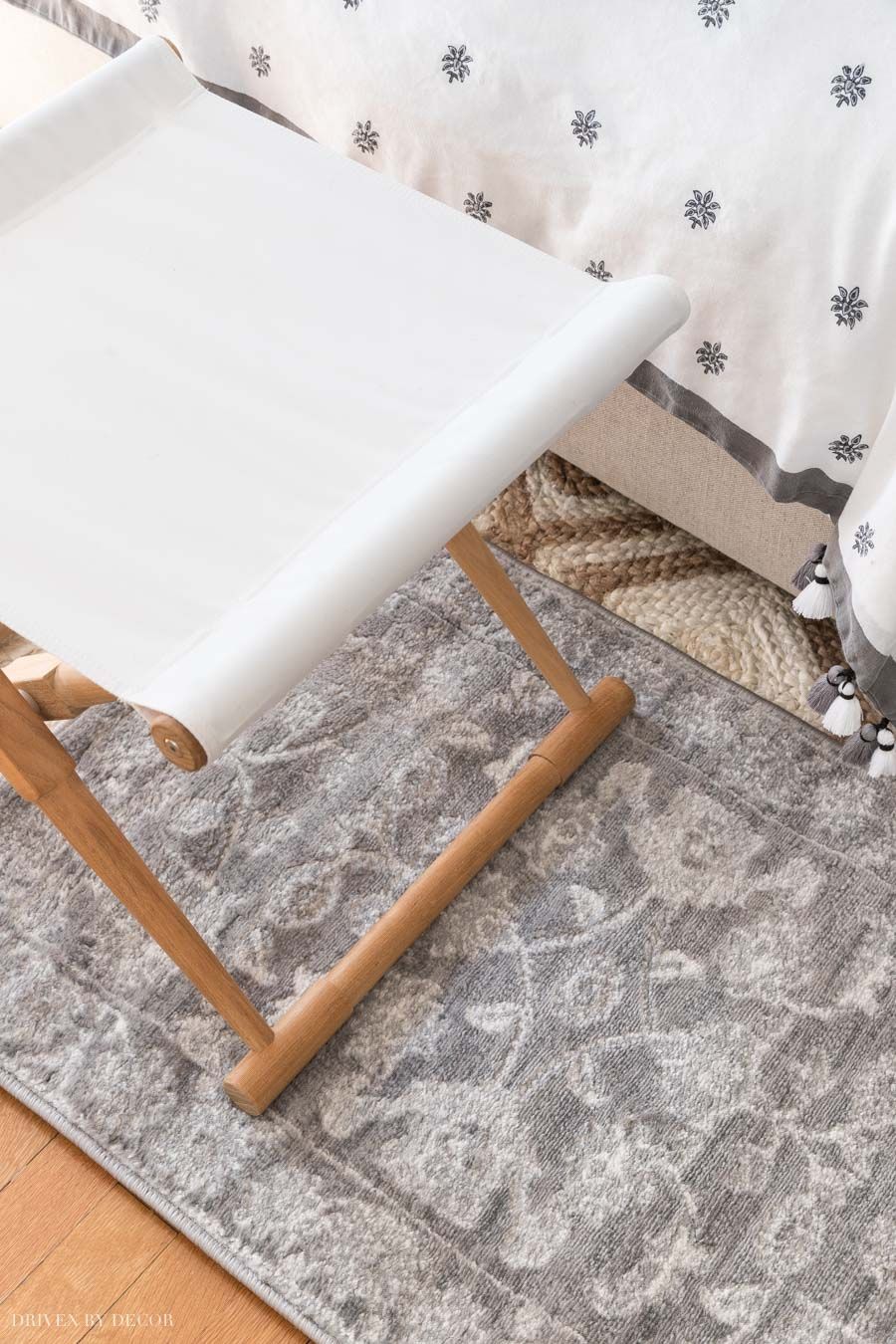 Gorgeous patterned gray rug that's soft and highly cleanable!