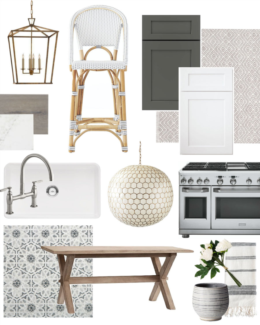 Interior design mood board for our kitchen remodel!