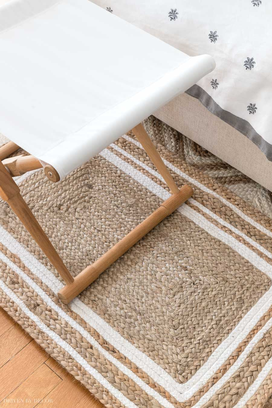 Gorgeous jute rug with triple white border!