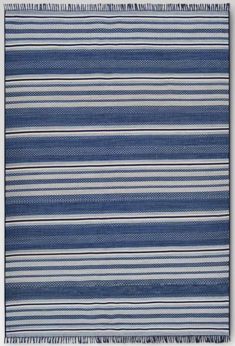 Love this blue striped outdoor rug!