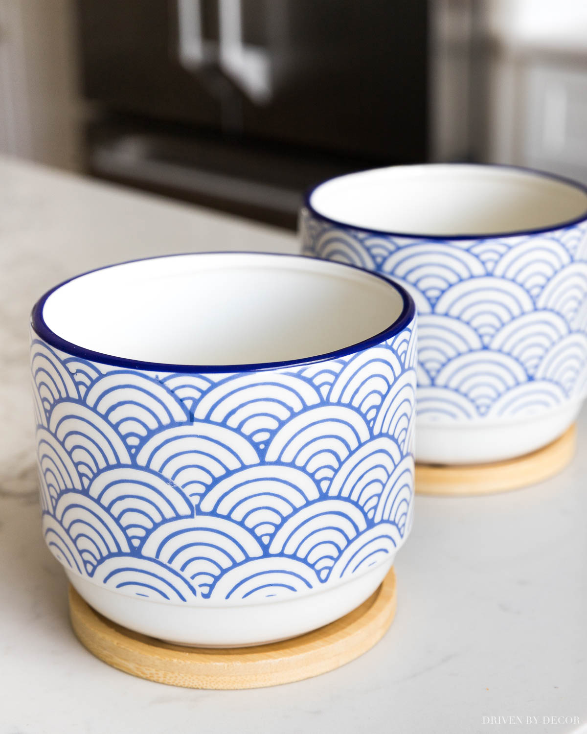 The cutest blue and white planters with bamboo drip trays - love these for spring decor!