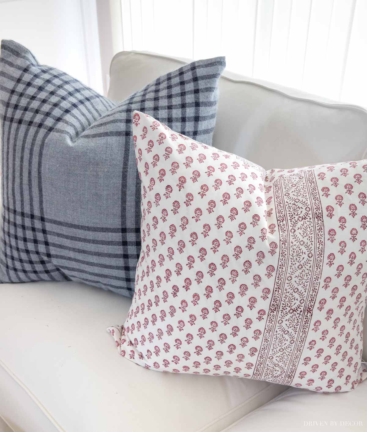 Love these pink block print pillow covers for spring!