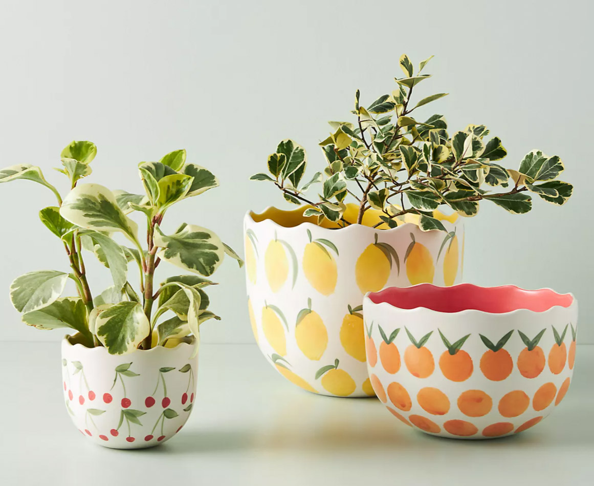 Some of my favorite spring decor pieces! Darling planters with fruit prints!