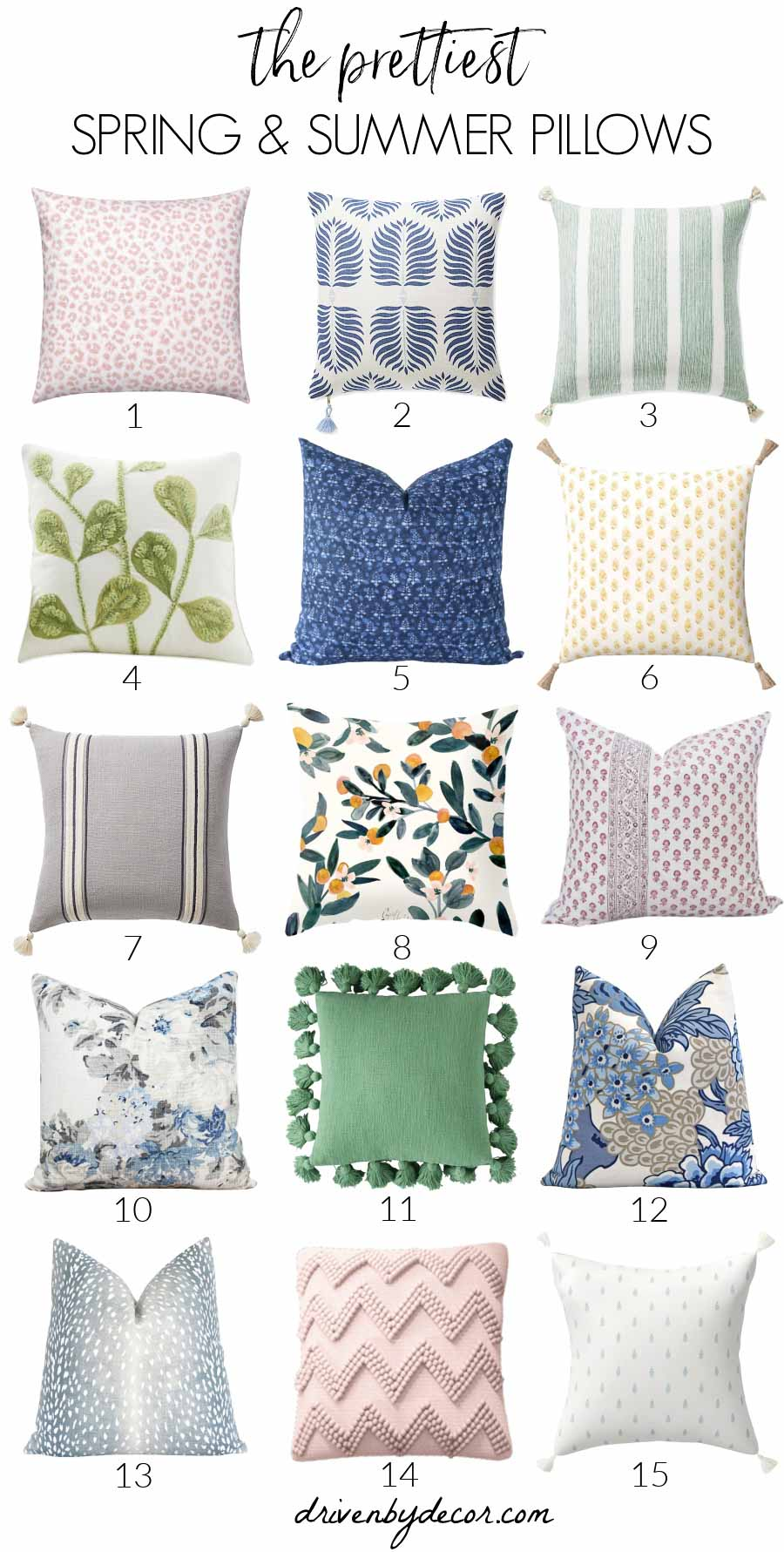 Spring pillows - all my favorites! Sources to each are included in post!