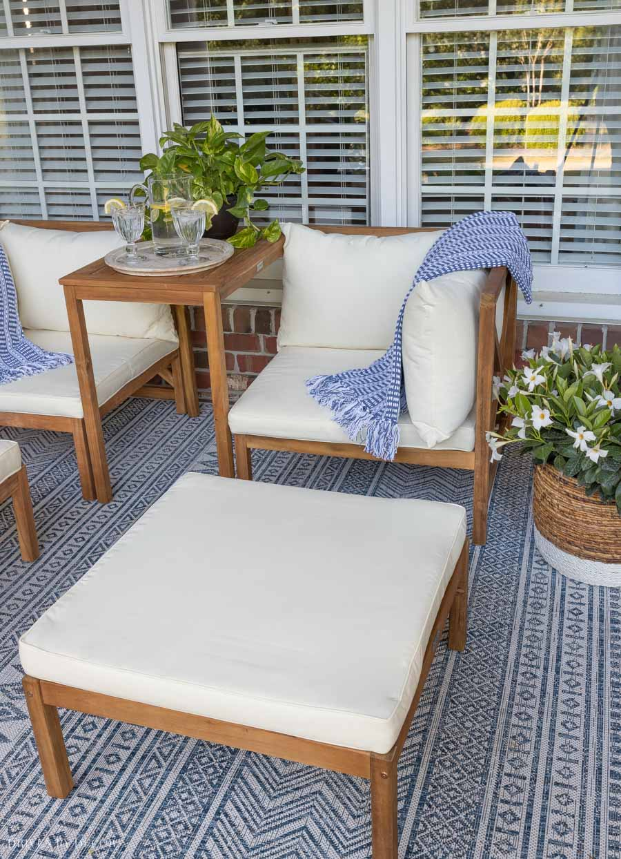 Beautiful outdoor furniture set of chairs with matching ottomans