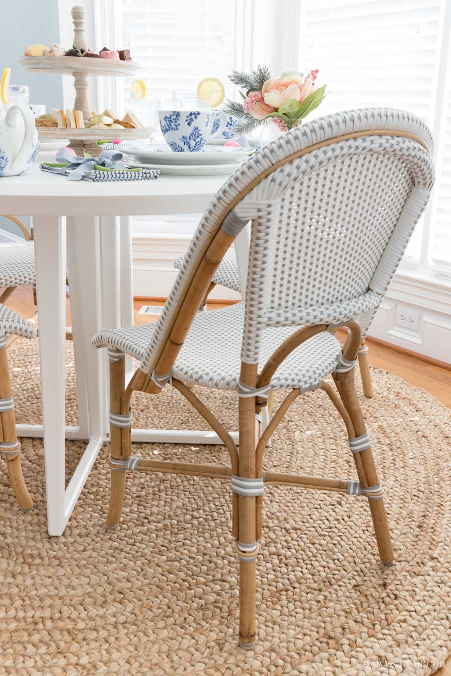 Our breakfast nook chairs - cute bistro chairs in gray and white!