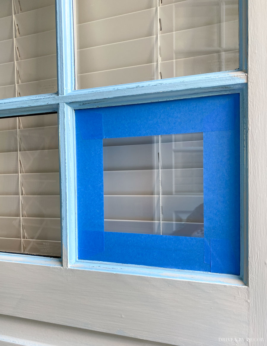 A smart way to keep paint from getting on the glass panes when painting your front door