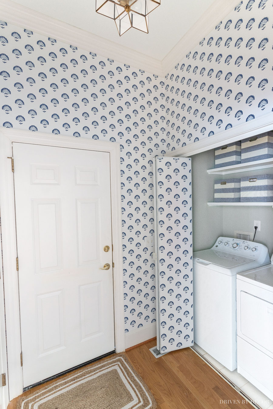 Our newly wallpapered laundry room!