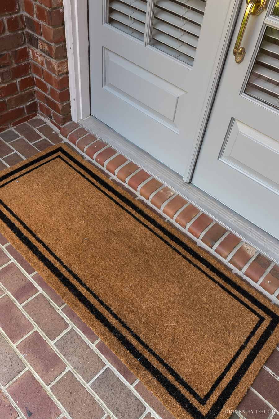 Love this long doormat that's perfect for double front doors!