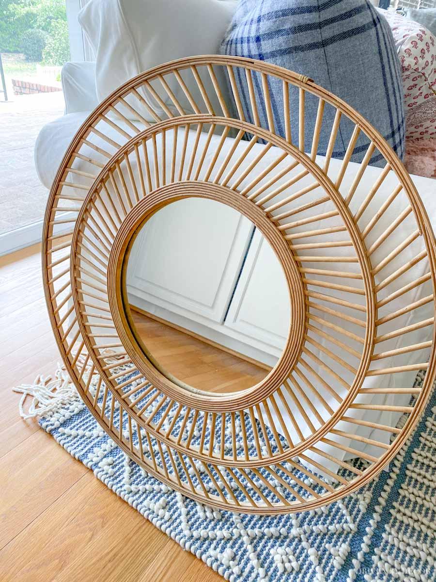 Gorgeous round rattan mirror!