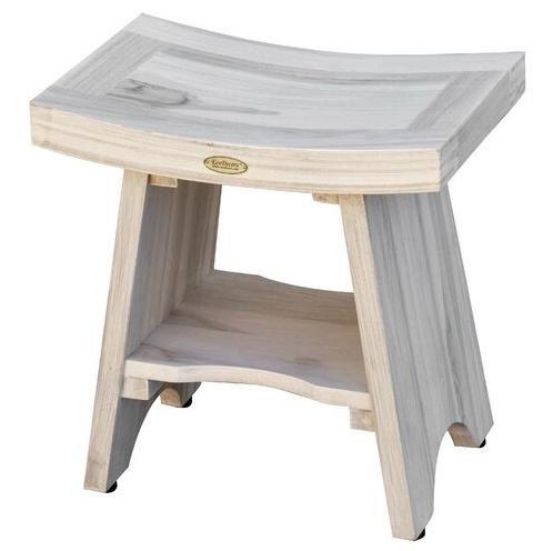 The prettiest driftwood teak shower bench!
