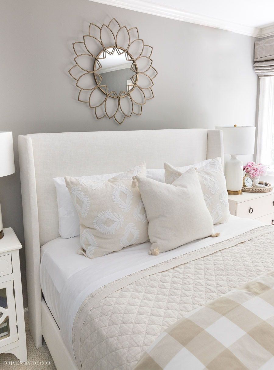 Love this upholstered bed that's on big sale!
