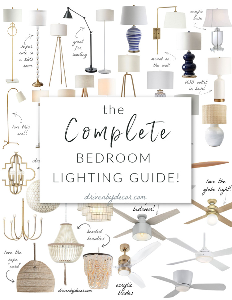 Complete bedroom lighting guide - the best light fixtures including floor lamps, table lamps, pendants, chandeliers, and ceiling fans!