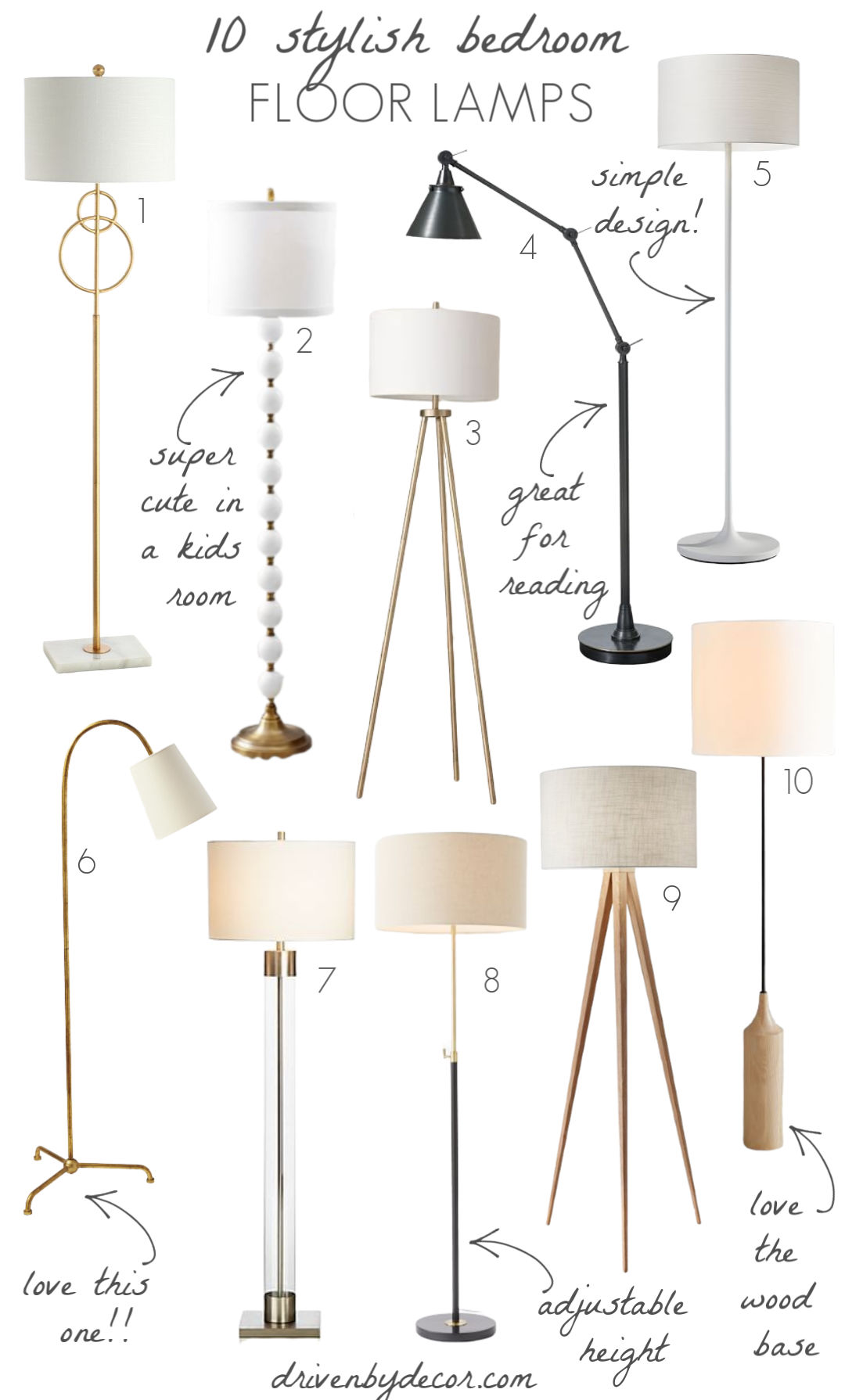 Love these floor lamps that she shared as some of her favorite bedroom light fixtures!