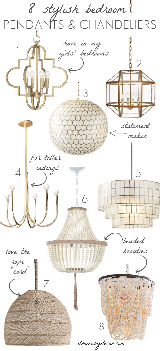 Loving these stylish bedroom light fixures - pendants and chandeliers!