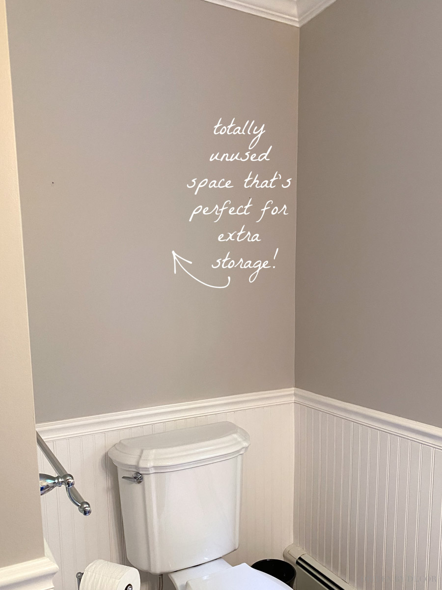 Sharing what I did with this empty space above the toilet in our bathroom!