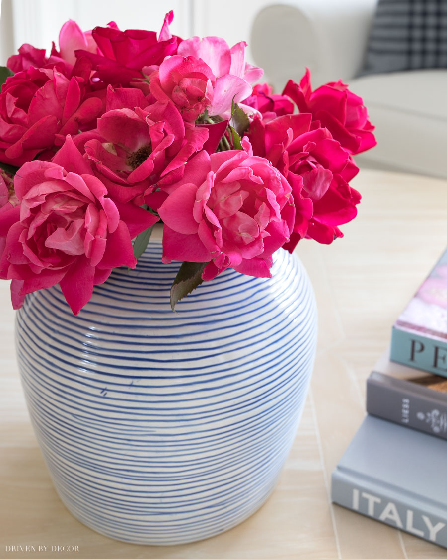 Beautiful blue and white striped vase!