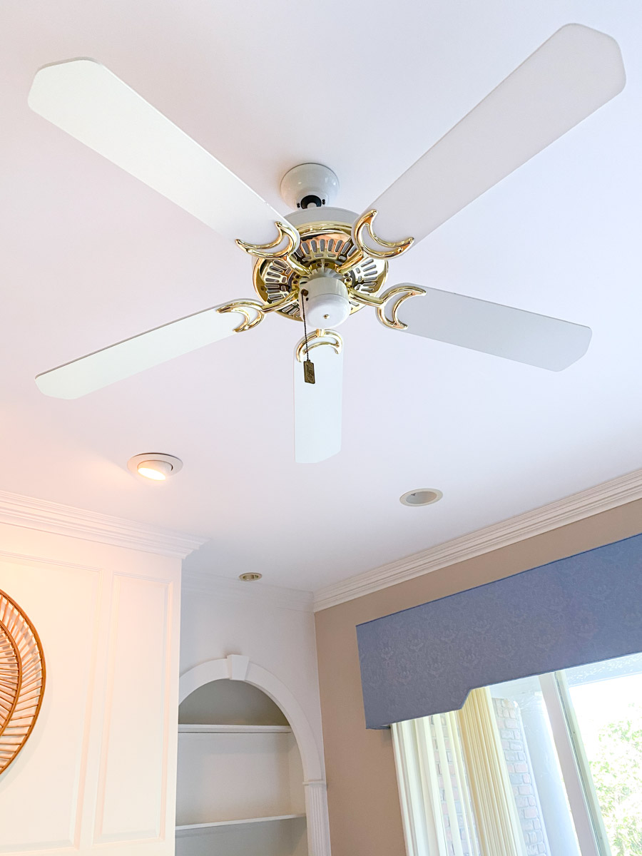 Our brass ceiling fan before we painted it