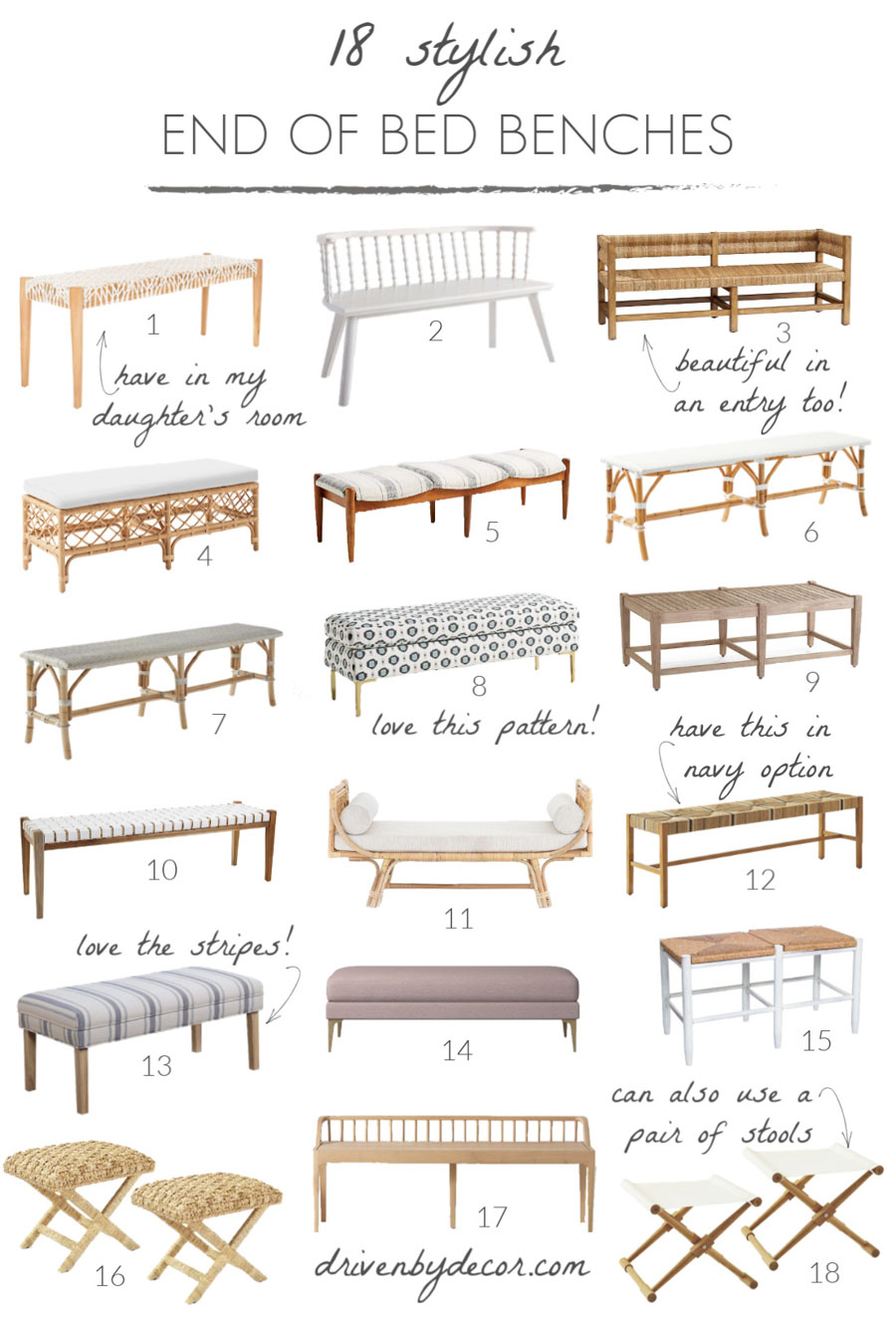 Stylish end of bed bench options - love so many of these!