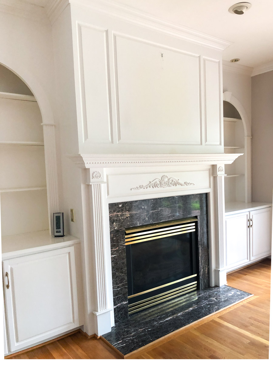 Our fireplace before being painted!