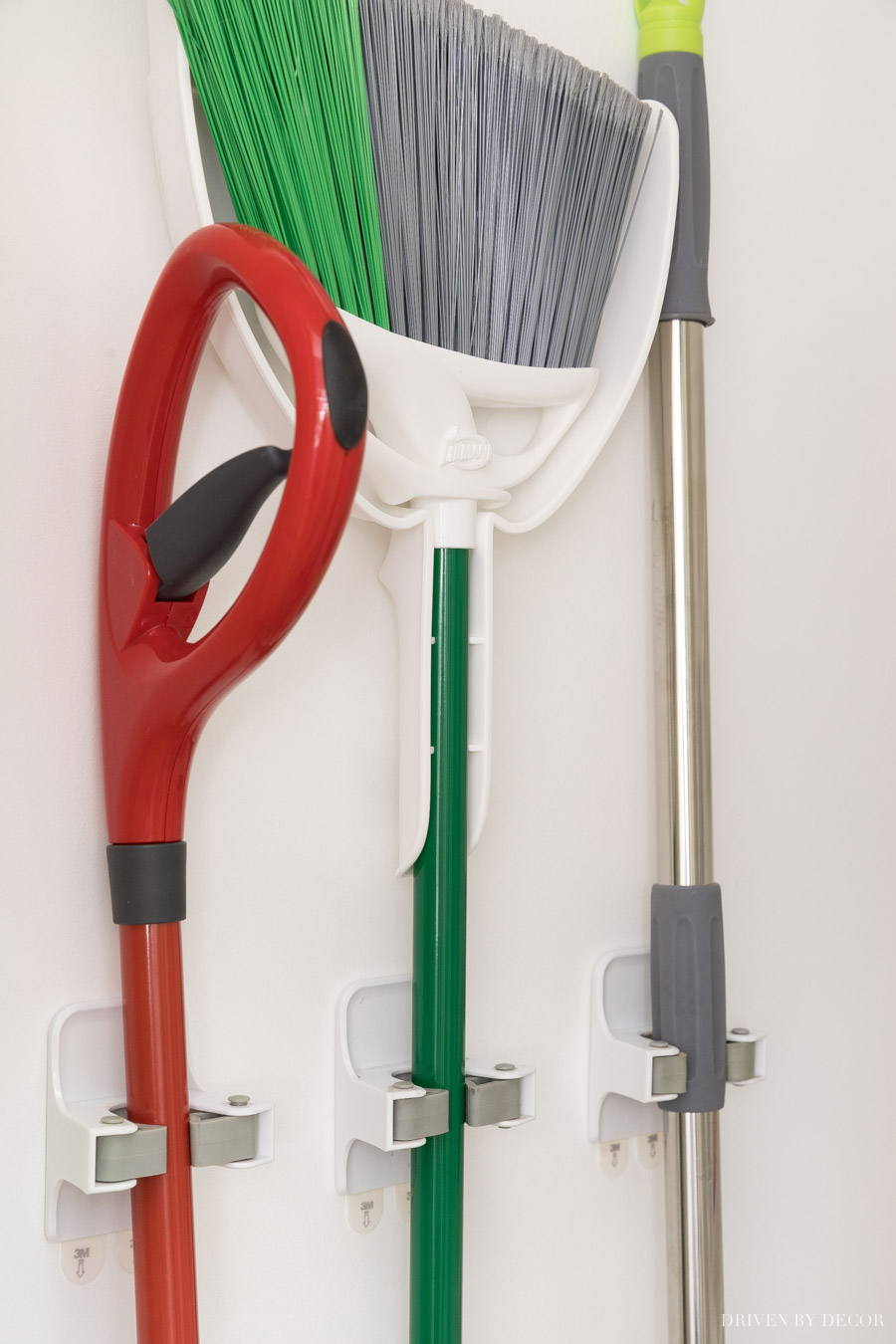 These gripper hooks are perfect for hanging brooms and mops where you want them in the closet!