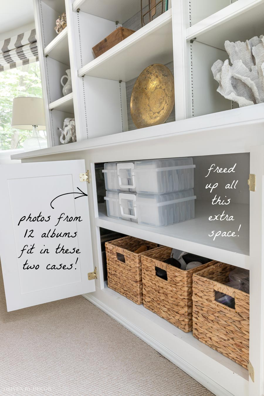 Using these photo storage containers freed up so much space in our cabinets!
