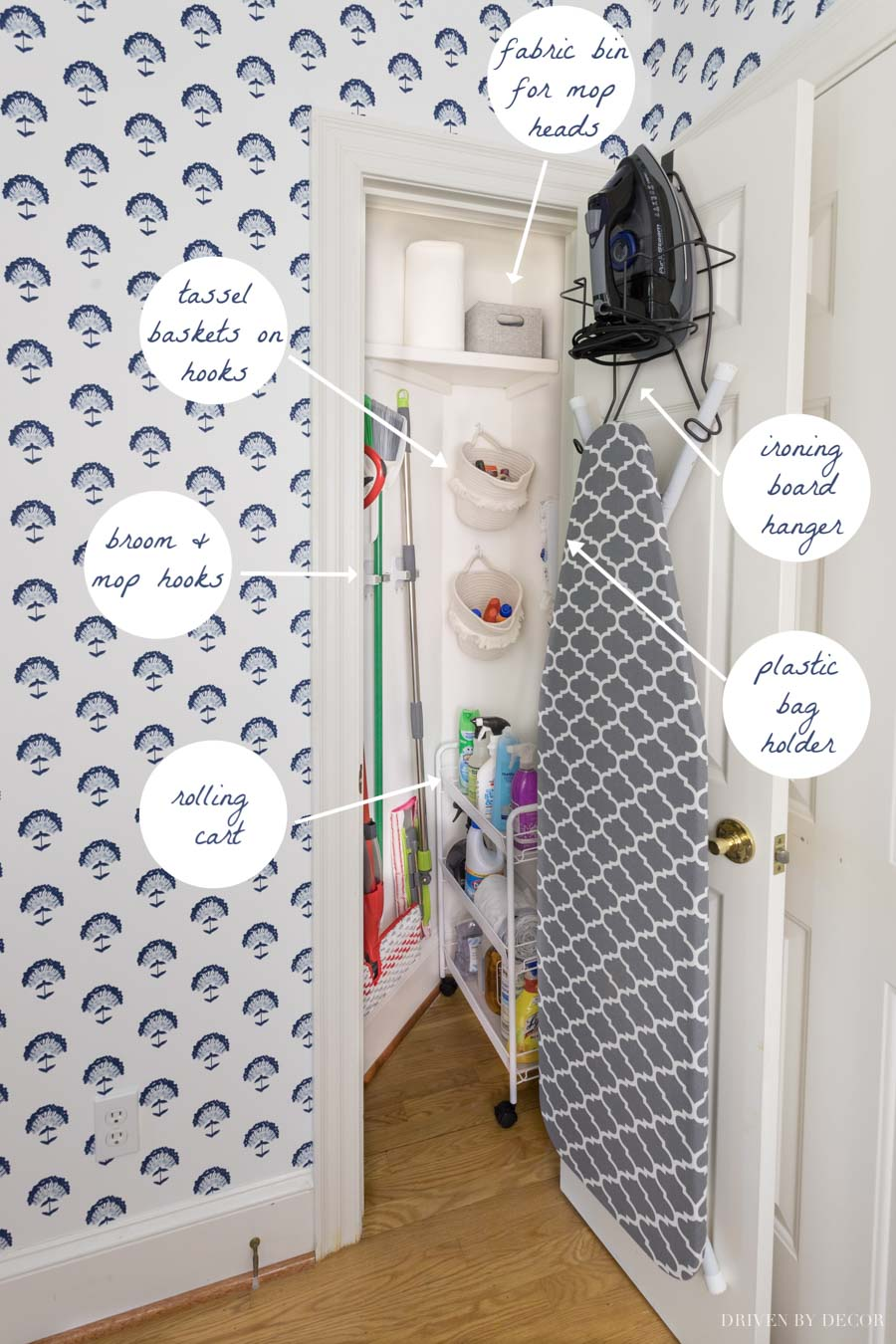Our organized utility closet in our laundry room!