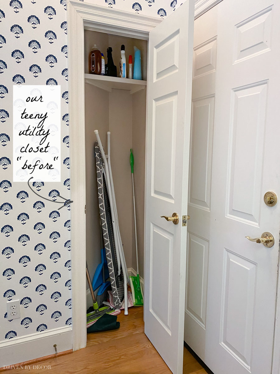"The ""before"" of our utility closet - it's so much more organized now!"