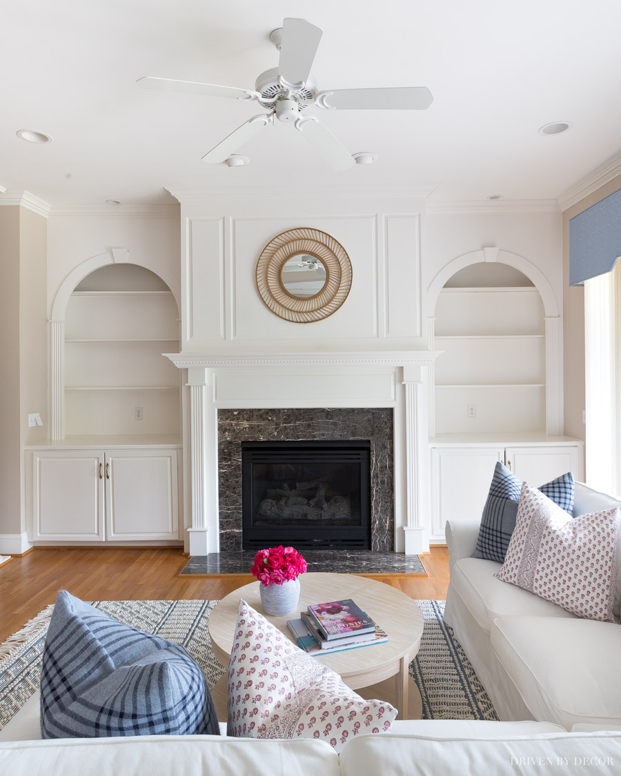 Love how she spray painted the brass fan and recessed lighting trim to make it look like new!