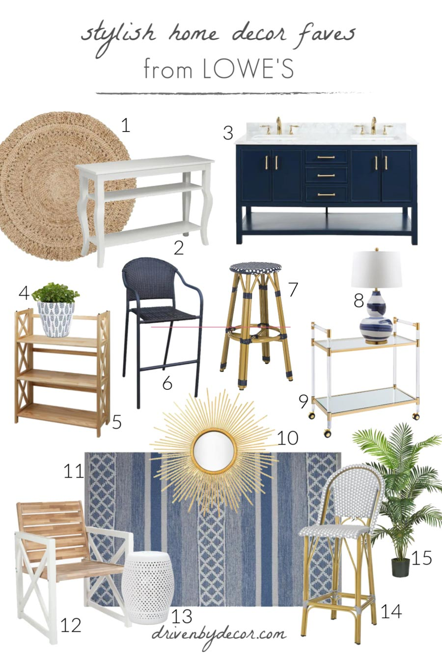 My favorite stylish home decor pieces from Lowe's - each on is linked in my post!