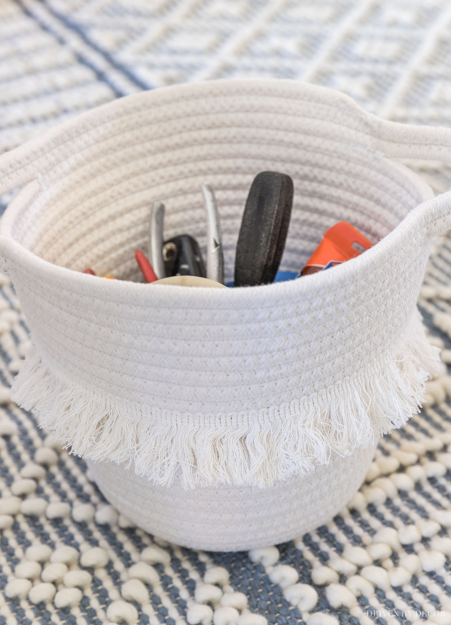 The cutest tassel basket for stylish storage!