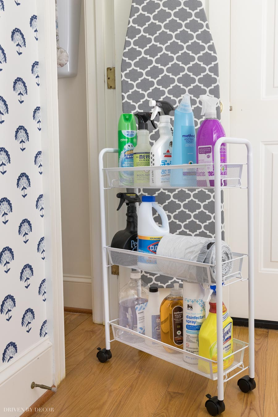 Love having a rolling cart in my utility closet to easily access cleaning supplies!