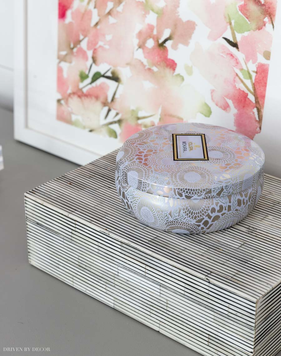 Love the smell of these candles and they come in the prettiest tins!