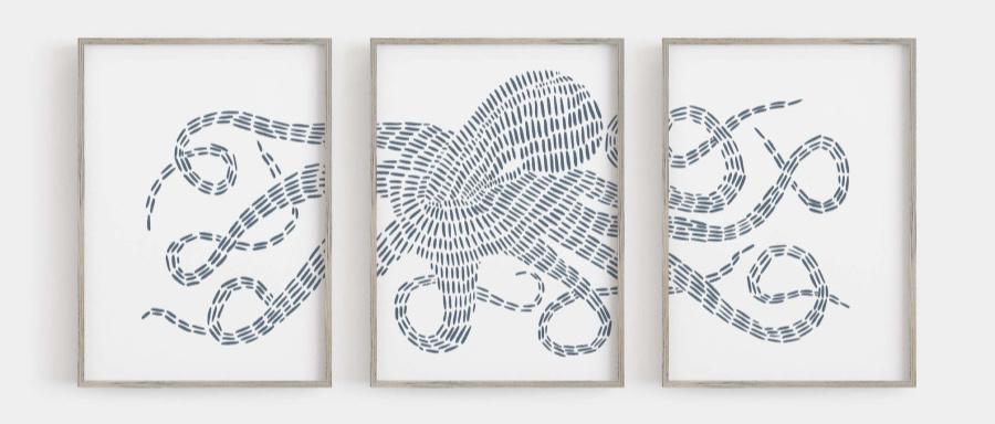 Love this 3-piece octopus art!