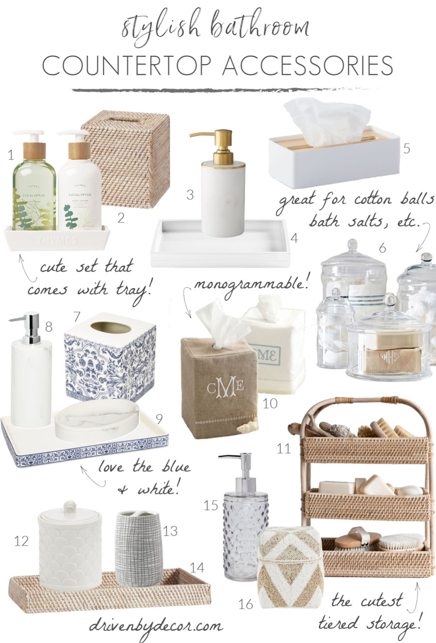 Stylish bathroom decor! Love all of these countertop accessories - soap pumps, trays, tissue boxes, & more!