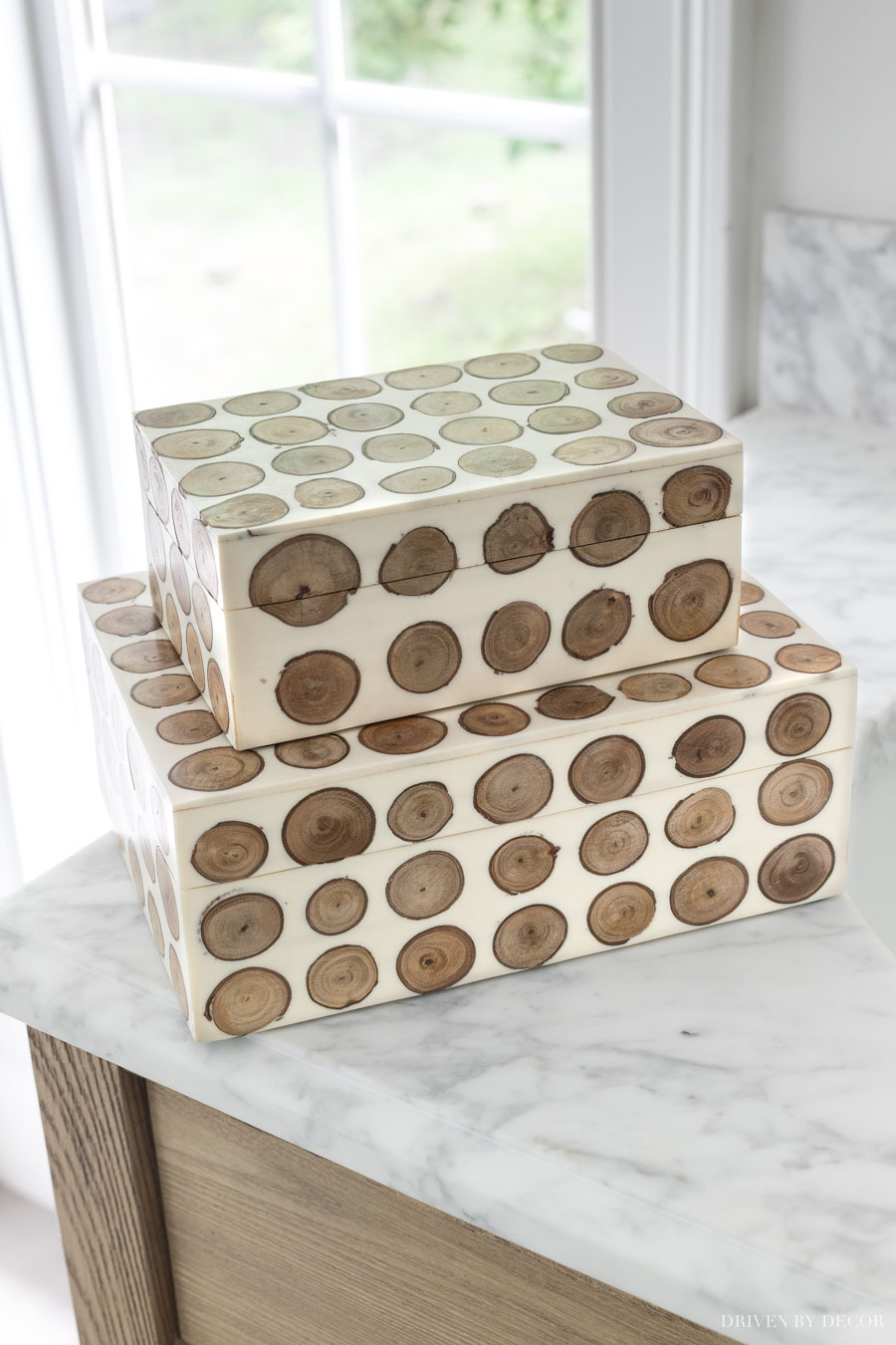 LOVE these decorative boxes - one of the pretty bathroom decor ideas in this post!