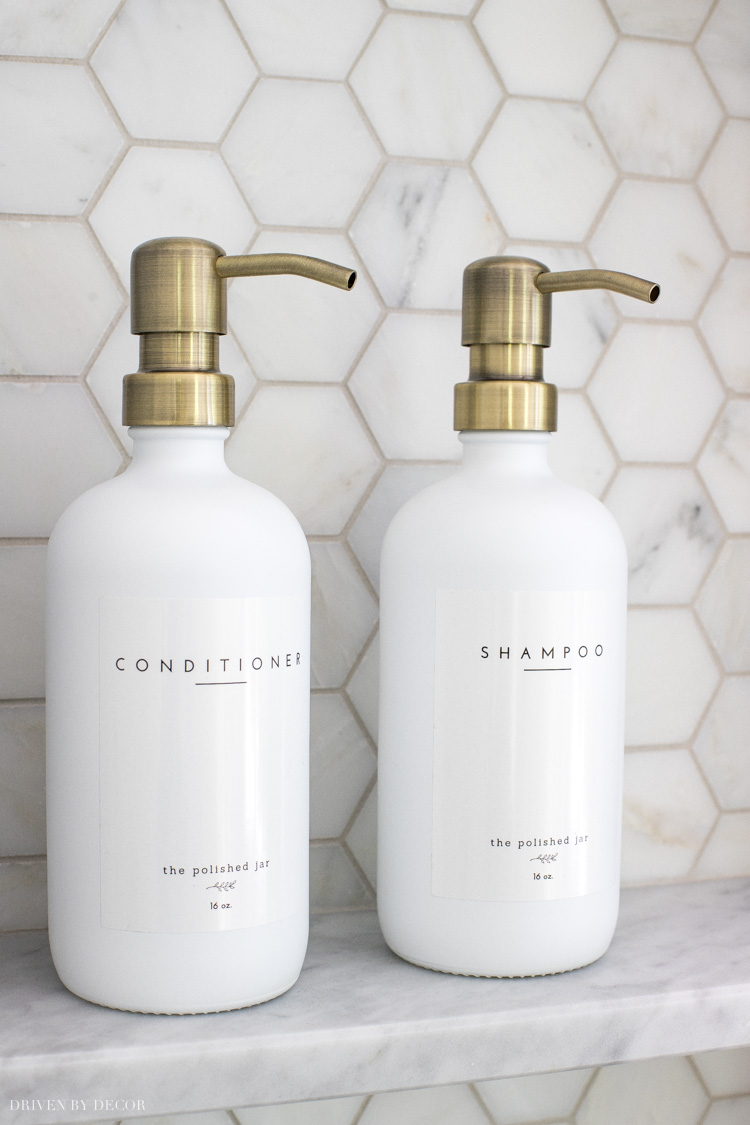 Love of the bathroom decor ideas included in this post including these gorgeous shampoo and conditioner pumps!