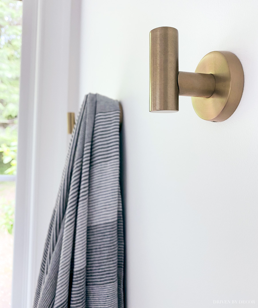 Gorgeous towel and robe hooks - some of the beautiful bathroom decor ideas in this post!