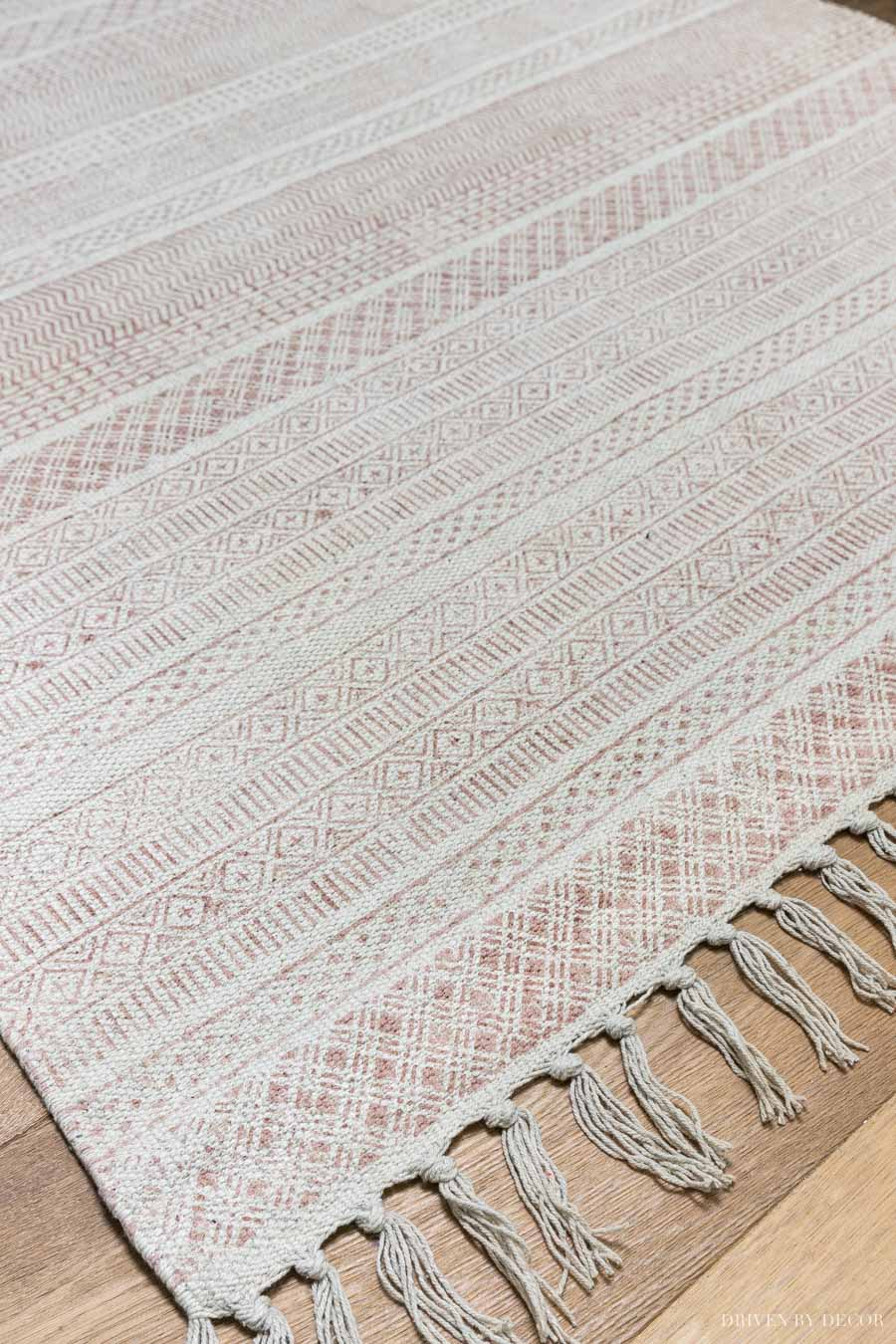 Gorgeous blush flatweave rug - perfect for a home office, entry, or kitchen!