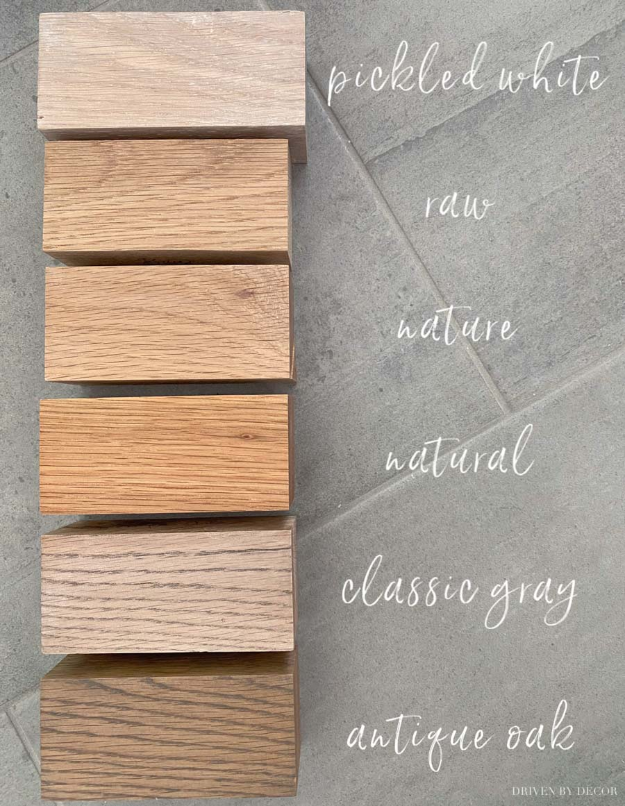 Finish options for the floating wood (oak) shelves we're putting in our bathroom!
