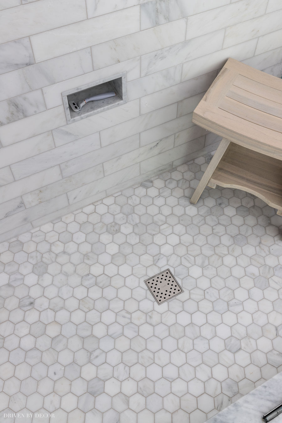Our marble hexagon shower floor - love!