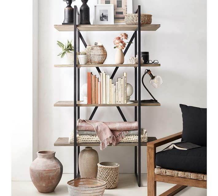 Such a beautiful open bookcase for a living room - would work well in a pair too!