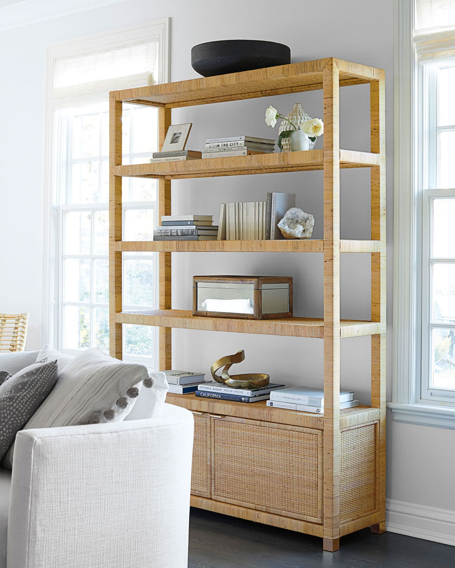 This rattan bookcase would be stunning on a bare living room wall!