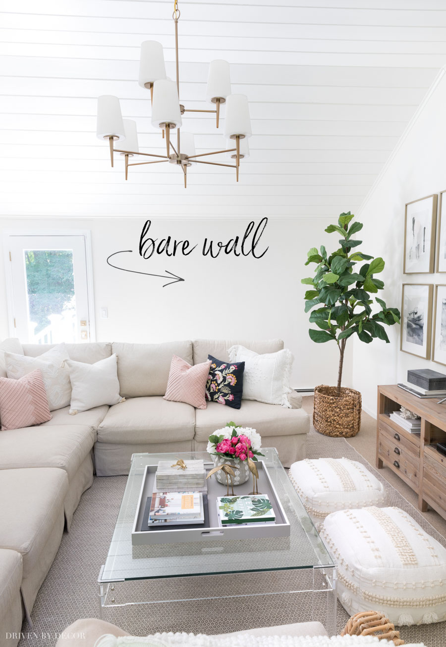 Ideas for decorating our bare living room wall!