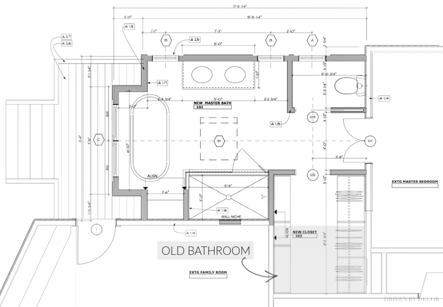 The floor plan / layout of our new master bathroom