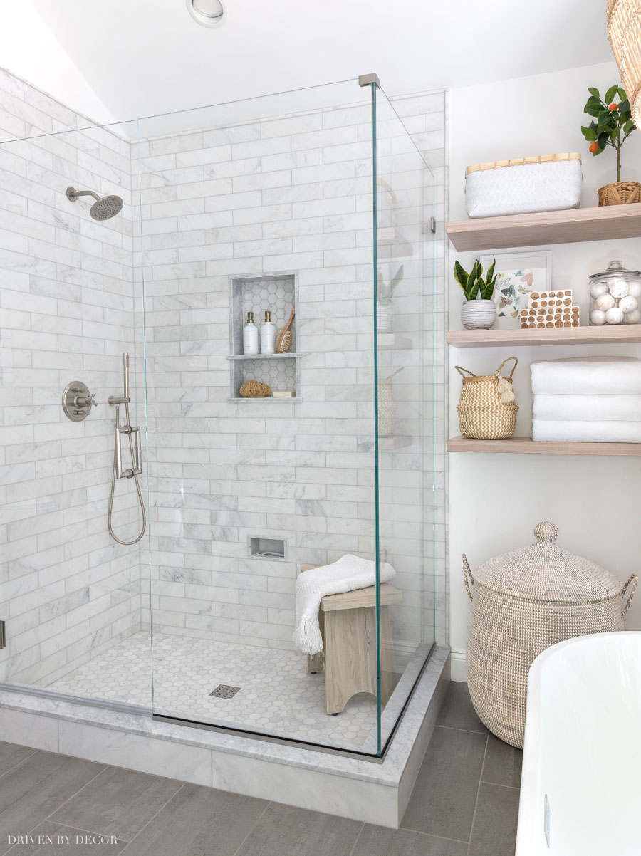 The marble shower in our master bathroom!