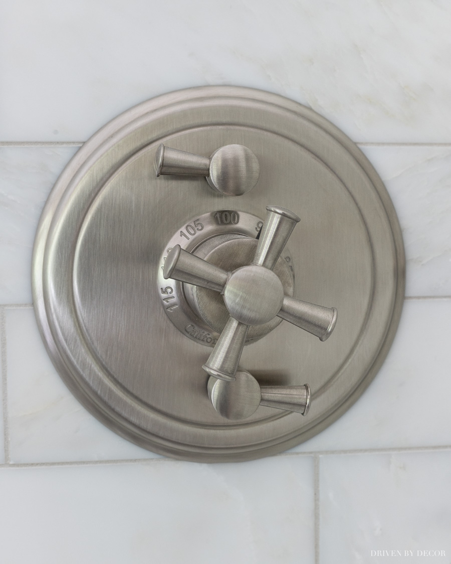 Love this satin nickel shower valve trim with cross handles!