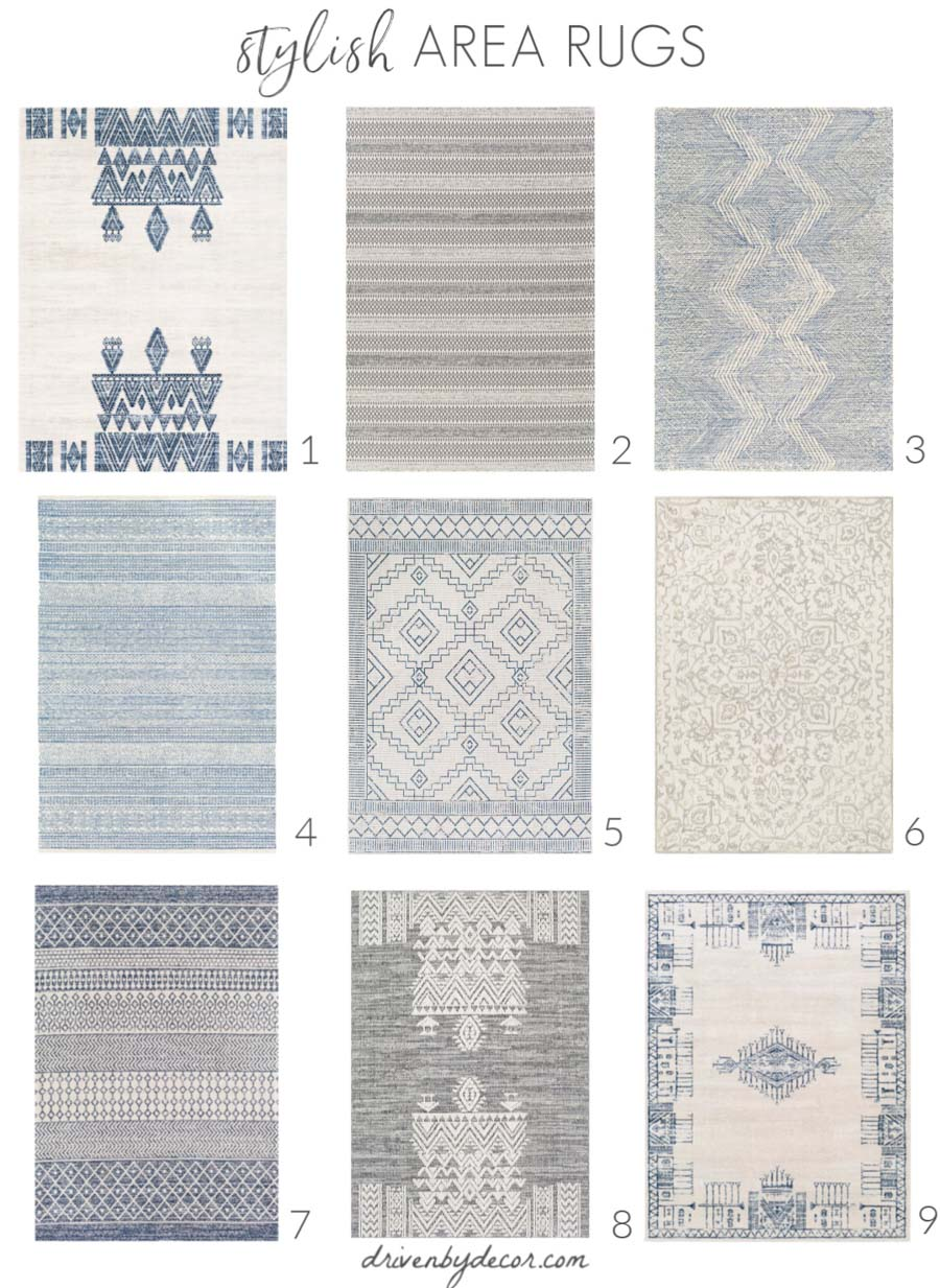 Love all of these stylish area rugs!