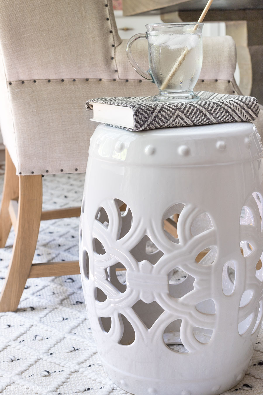 Love this white garden stool!!